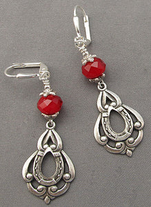 Equestrian Earrings Silver Red Crystal Jewelry