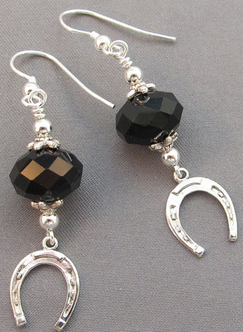 Silver Horse Shoe Black Crystal Earrings