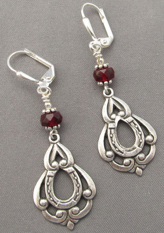 Lucky Horse Lover Earrings Silver Red Horseshoe