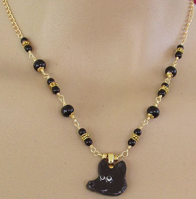 Dog Necklace Gold Black Jewelry Handmade