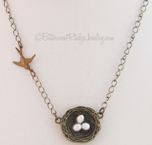Swallow Bird Nest Necklace Freshwater Pearls Vintage Brass