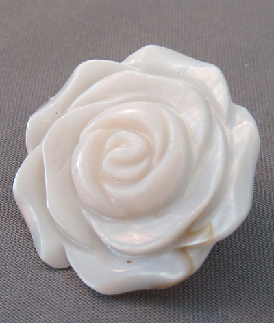 Romantic Rose Blossom Flower Pin Pale Pink Accented Mother of Pearl