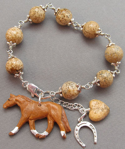 Lucky Horse Bracelet Heart Silver Sorrel Equine Jewelry