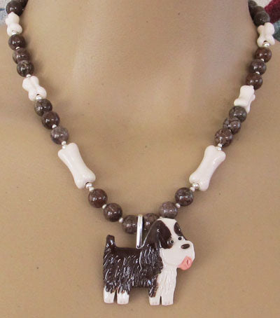 Springer Spaniel Dog Necklace Brooch Chocolate Silver
