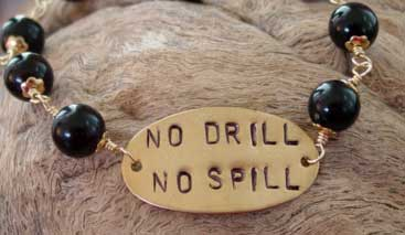 No Drill No Spill Bracelet Black Agate Political Statement Jewelry