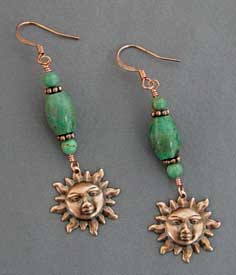 Turquoise Sun Charm Earrings Handcrafted Copper Jewelry