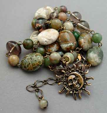 Sun Moon Necklace Jasper Fertility Symbol Jewelry