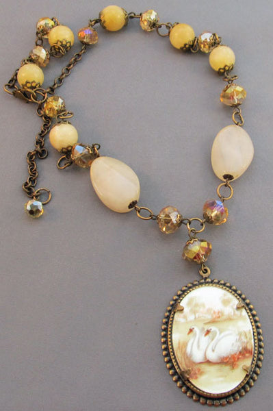 Vintage Cameo Swans Necklace Wedding Jewelry