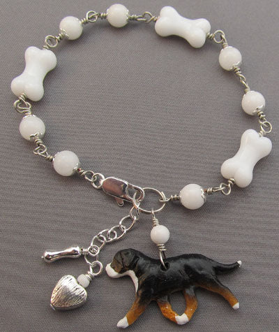 Swiss Mountain Dog Bracelet White Bone Jewelry