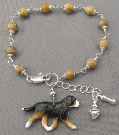 Swiss Mountain Dog Bracelet Silver Heart Bone Tans Handmade