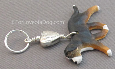 Swiss Mountain Dog Pendant Silver Heart Handmade
