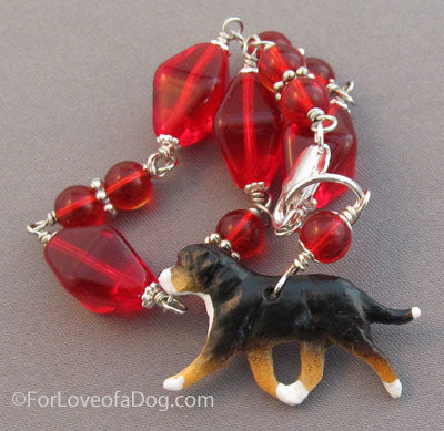 Swiss Mountain Dog Bracelet Big Red Beads Silver Handmade