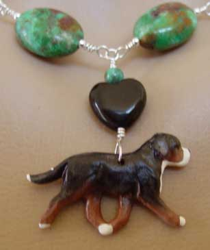 Swiss Mountain Dog Jewelry Necklace Turquoise Handcrafted Dog Breed Jewelry