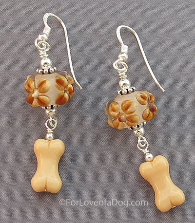 Dog Bone Earrings Tan Floral Lampwork Sterling Silver
