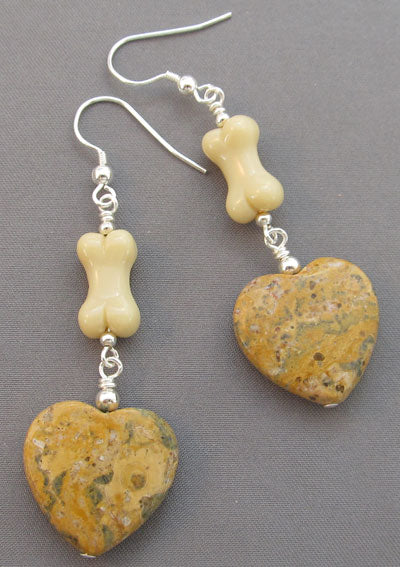 Dog Bone Earrings Big Jasper Hearts and Silver