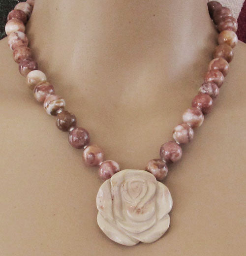 Nature Girl Rose Necklace Chunky Floral Jewelry