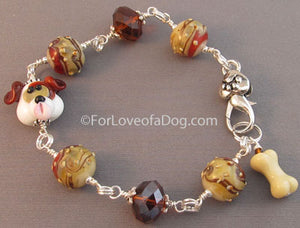 Puppy Dog Bone Bracelet Chunky Lampwork Crystal Handmade Jewelry