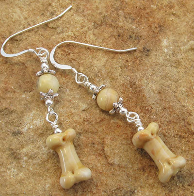 Dog Bone Earrings Tawny Jasper Artisan Lampwork