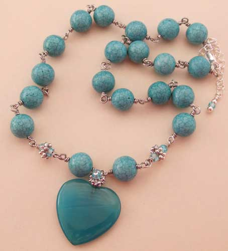 Wild Love Teal Blue Heart Necklace