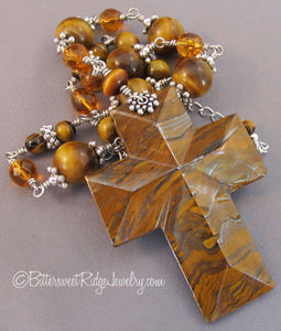 Tigerseye and Jasper Gemstone Cross Necklace