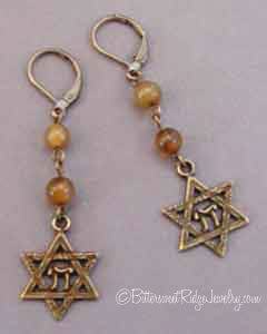 Vintage Style Star of David Earrings Serpentine Brass