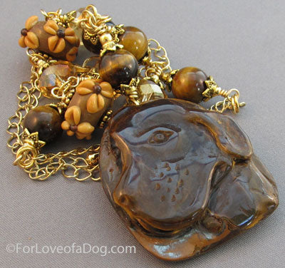 Dog Lover Necklace Tigers Eye Lampwork Retriever Gold