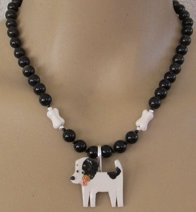 Jack Russell Terrier Dog Necklace Brooch Bones Silver