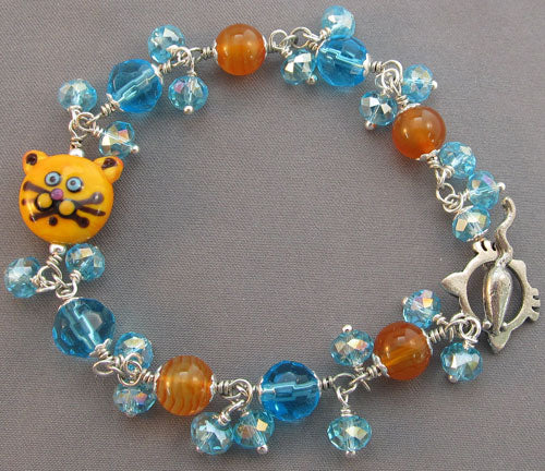Turquoise Cat Lover Bling Bracelet Mouse Toggle