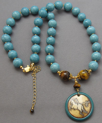 Turquoise Horse Necklace Tigerseye Equestrian Jewelry