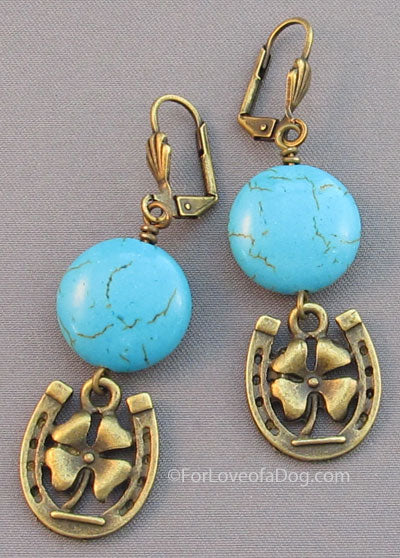 Turquoise Lucky Horse Shoe 4 Leaf Clover Earrings