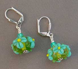 Turquoise Floral Artisan Lampwork Earrings Silver Jewelry