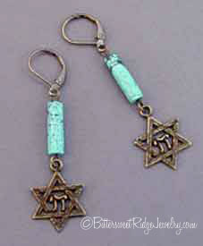 Vintage Style Star of David Earrings Turquoise Brass Judaica