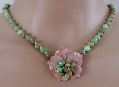 Dragonskin Turquoise Flower Necklace Boho Jewelry