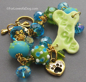 Rescue Dog Bone Best Friend Bracelet Turquoise Peridot Gold