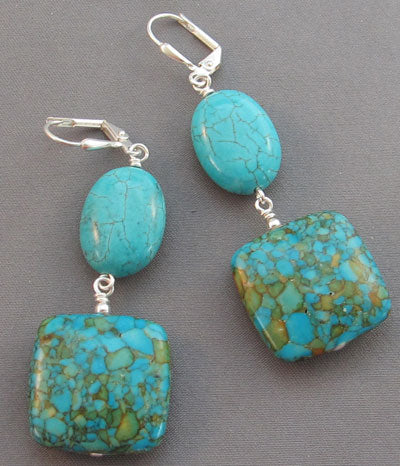 Chunky Turquoise Earrings Silver