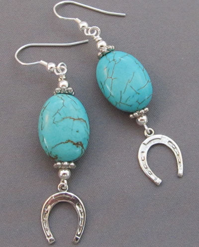 Turquoise Lucky Silver Horse Shoe Equestrian Earrings