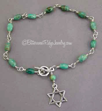 Star of David Bracelet Sterling Silver Turquoise Judaica Jewelry