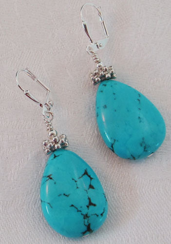 Turquoise Teardrop Silver Earrings Statement Jewelry