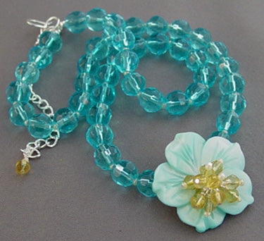 Happiness Flower NecklaceTurquoise Crystal Jewelry
