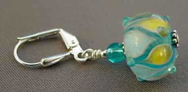 Turquoise Artisan Lampwork Earrings Silver Jewelry
