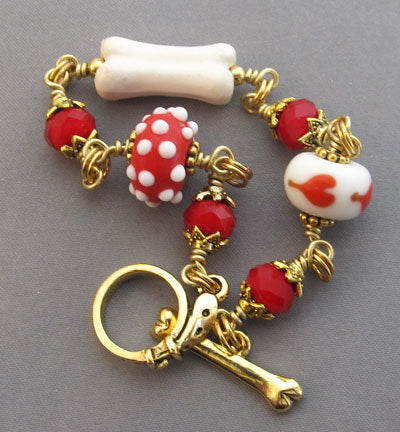 Dog Lover Bracelet Red Polka Dots Heart Bone Gold