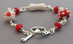 Hot Dog Lover Bracelet Heart Bone Crystal Silver