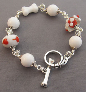 Dogs Bracelet Red Heart Flowers White Bone
