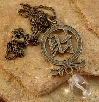 Wealth Quartz Necklace Chinese Symbol Jewelry