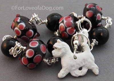 Westie Dog Charm Bracelet Pink and Black Artisan Lampwork