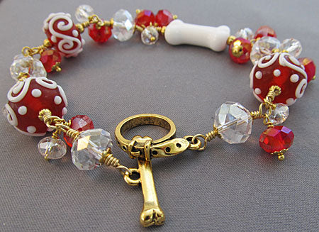 Dog Bone Bracelet Red Gold Artisan Jewelry