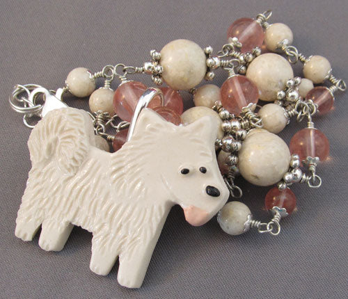 White Puppy Dog Pin and Necklace