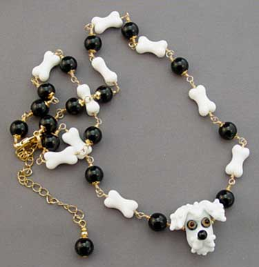 Dog Bone Jewelry Schnauzer Poodle White Dog Necklace