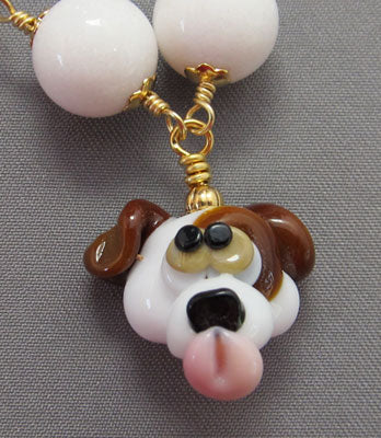 Puppy Love Dog Lover Necklace Lampwork Gemstone Jewelry