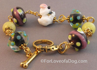 White Puppy Dog Bracelet Wild Lampwork and Jade